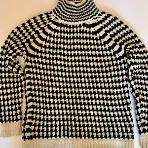 Black and White Houndstooth Turtleneck Sweater